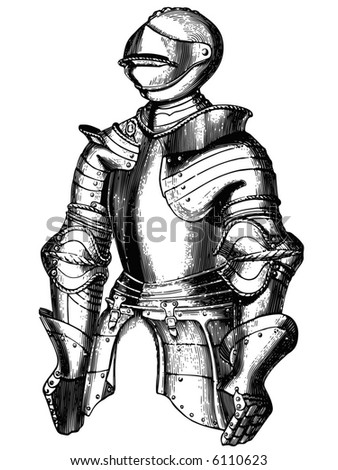 Knightly armour represented in style of an ancient engraving - stock vector