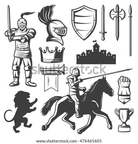 Knights Monochrome Elements Set Medieval Castle Stock Vector