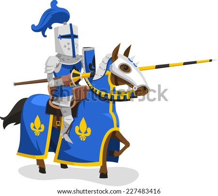 Knights Suit Body Protection Armor Horse Lance Helmet, vector illustration cartoon. - stock vector