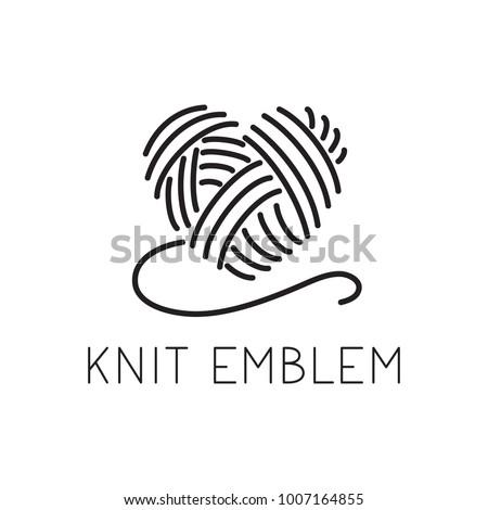 Knit Crochet Emblem Design Line Wool 1007164855