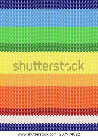 Knit woolen seamless texture. Fabric multicolor striped pattern - blue, green, yellow, red, orange color strips different widths. abstract design, vector art image illustration background, eps10 - stock vector