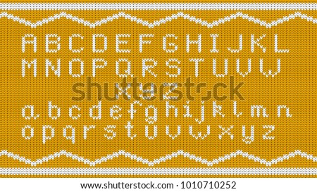 Knitted Alphabet Pattern Vector Knitted Alphabet Stock Vector Hd