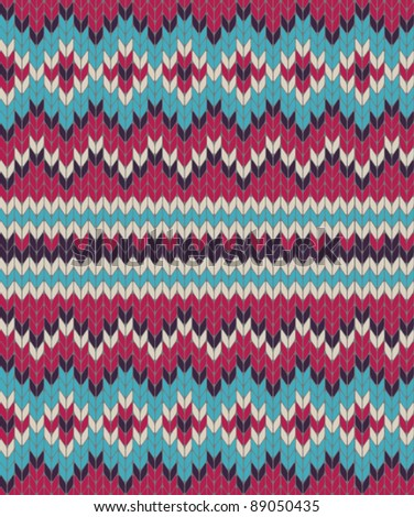 Knitted background in Fair Isle style in four colors - stock vector