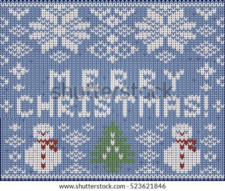 Knitted background Merry Christmas, vector illustration