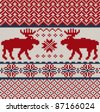 Knitted background with Christmas deers and snowflake - stock vector