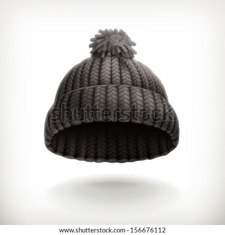 Knitted black cap, vector illustration - stock vector