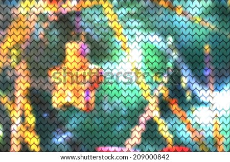 knitted blurred vector background with Christmas tree and star of 2015. EPS10