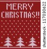 Knitted Christmas postcard with snowfall and fir trees. Seamless, can be used as background - stock photo