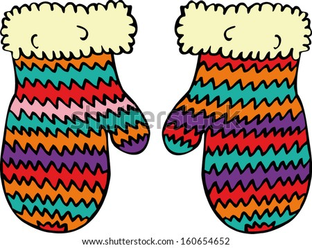 Knitted colorful mittens. Hand drawn illustration.  - stock vector