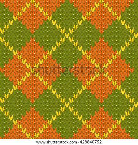 Knitted diamond shape seamless pattern in green and orange, vector