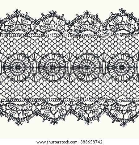 Knitted lace border with an openwork pattern. Vector illustration
