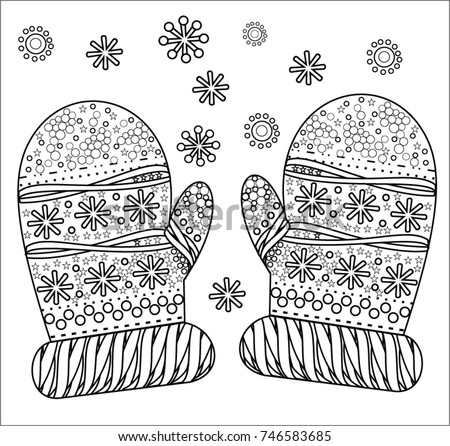 Knitted Mittens Snowflakes Pattern Adult Coloring Stock Vector ...
