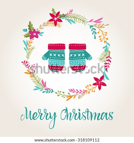 knitted mittens Xmas background, Merry Christmas greeting card - stock vector
