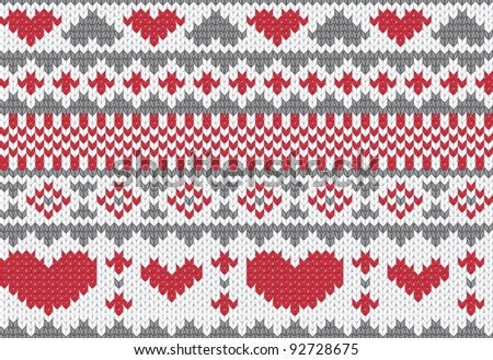 Knitted pattern vector with hearts - stock vector