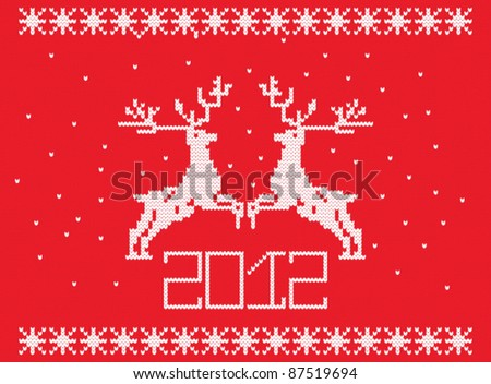 knitted pattern with deer - stock vector
