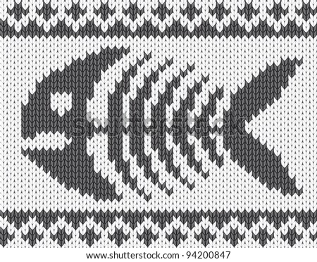Knitted pattern with fish skeleton - stock vector