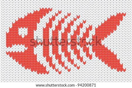 Knitted pattern with fish skeleton. EPS10 vector illustration. - stock vector