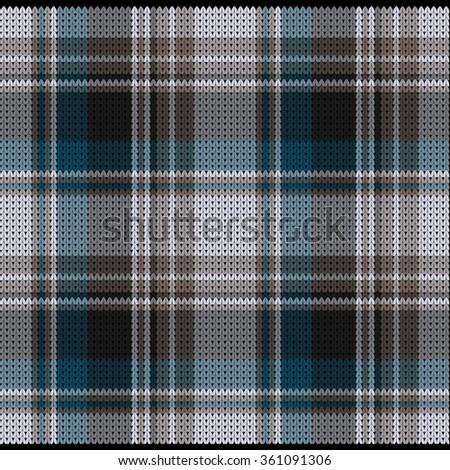 Knitted Plaid Tartan Pattern - stock vector