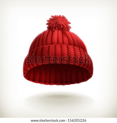 Knitted red cap, vector illustration - stock vector