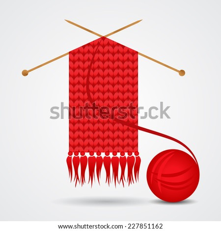 Knitted red scarf with a yarn ball. Vector illustration