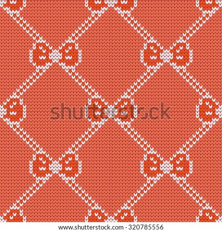 knitted seamless pattern bows - stock vector