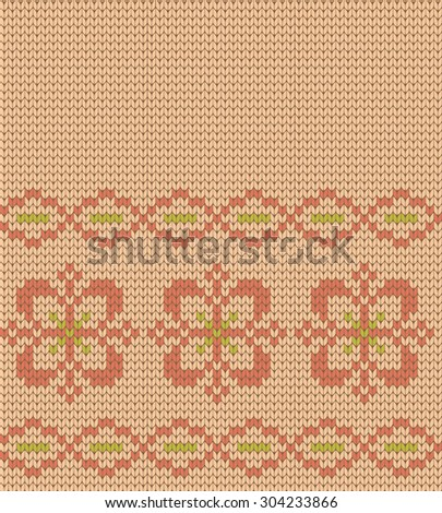 knitted seamless pattern flowers - stock vector
