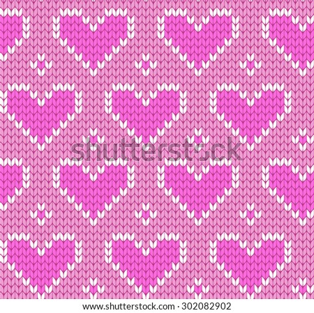 knitted seamless pattern hearts - stock vector