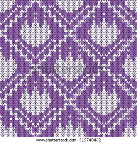 knitted seamless pattern lotus  - stock vector
