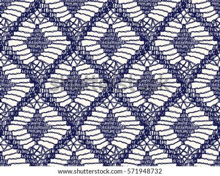 Knitted Seamless Patterns Crochet Mesh Knitting Stock Vector