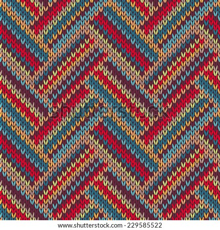 Knitted Seamless Red Blue Yellow Brown Orange Ornamental Striped Pattern  - stock vector