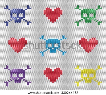 knitted skulls and hearts