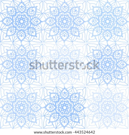 Knitted Snowflakes, winter background. Crochet lace of square elements with blue snowflakes and flowers, lace vector background. - stock vector