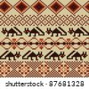 Knitted swatch in folk style with stylized foxes - stock vector