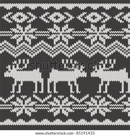 Knitted swatch with deers and snowflakes pattern - stock vector