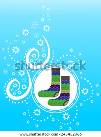 Knitted warm socks on a blue winter background with snowflakes - stock vector