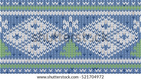 Knitted winter pattern with xmas tree, vector illustration