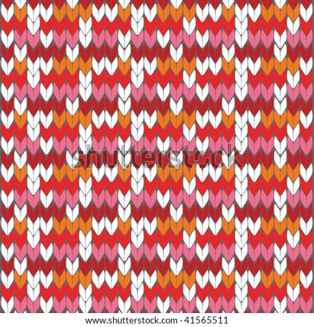 knitted wool pattern - stock vector