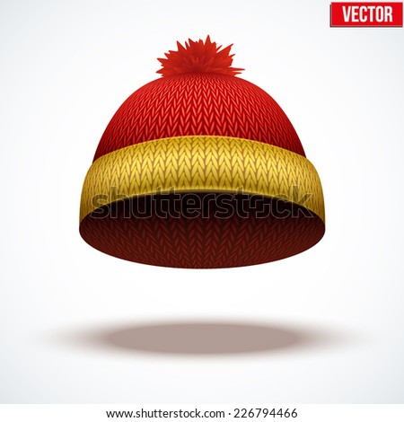 Knitted woolen cap. Winter seasonal colorful hat. Vector illustration isolated on white background. - stock vector