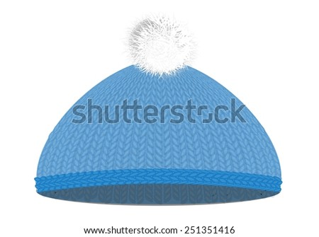 Knitted woolen cap with pompon - stock vector