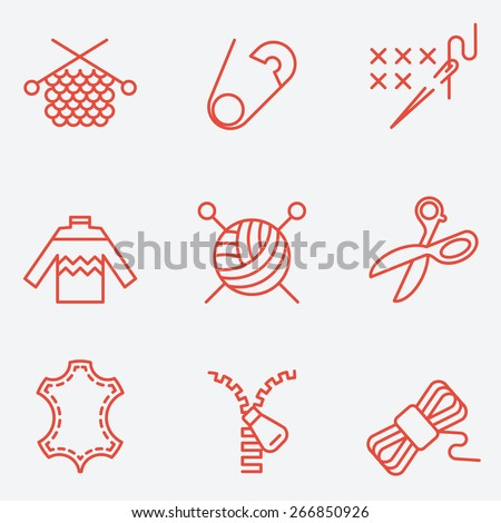 Knitting and needlework icons, thin line style, flat design - stock vector