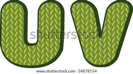 knitting green alphabet - stock vector