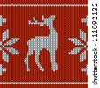 Knitting pattern with a deer - stock vector