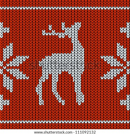 Nordic Knitting Patterns Free : Knitting pattern with a deer - stock vector