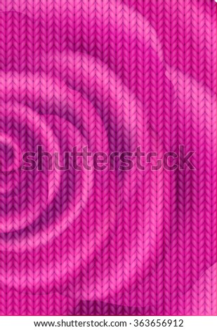 Knitting Pattern. Woolen cloth. Red or rose knitting wool texture background. Sweater or scarf texture. Knitted jersey background. Wool hand-knitted or machine knitting pattern. - stock vector
