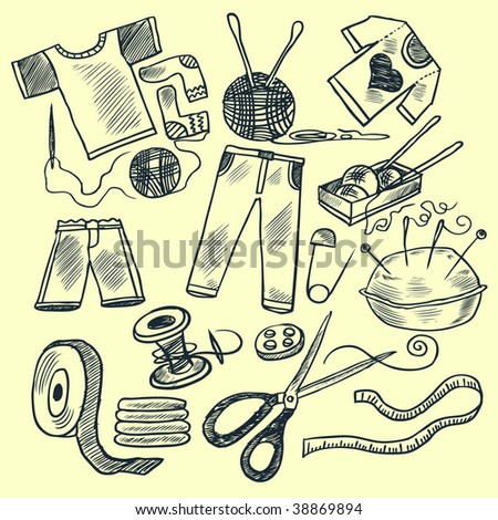 Knitting tools. Hand drawn vector illustration. - stock vector