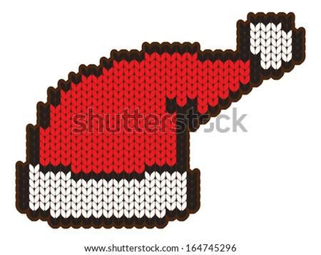 knitting wool santa hat - stock vector