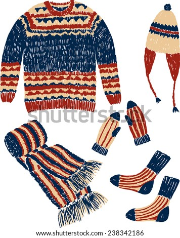 knitwear clothes - stock vector