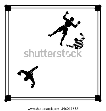 Knockout. Boxing scene figuring Winning and being Defeated. - stock vector