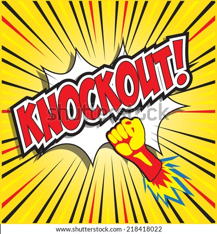 KNOCKOUT! wording in pop art style, comic background