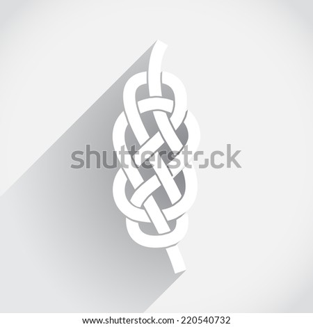 Knot on the rope in flat design - stock vector